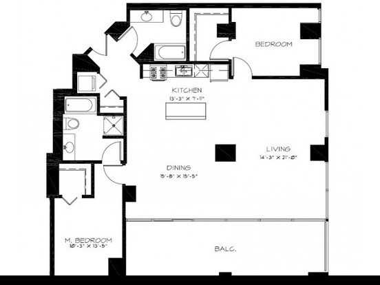 2 Bedrooms 2 Bathrooms Apartment for rent at Astoria Tower in Chicago, IL