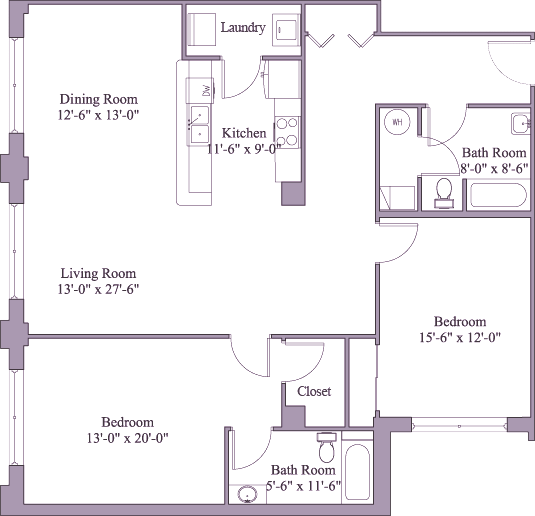 2 Bedrooms 2 Bathrooms Apartment for rent at First Place Apartments in Dayton, OH