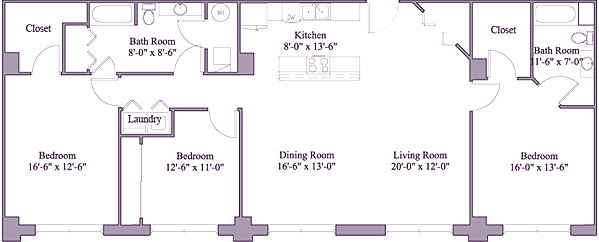 3 Bedrooms 2 Bathrooms Apartment for rent at First Place Apartments in Dayton, OH
