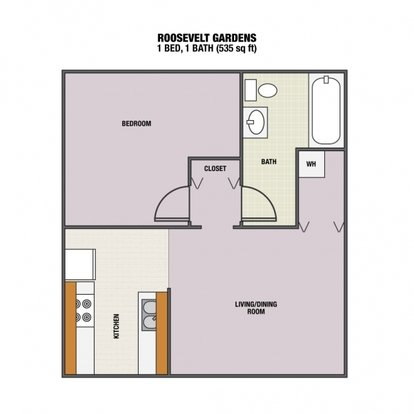1 Bedroom 1 Bathroom Apartment for rent at Roosevelt Gardens Apartments in Eugene, OR