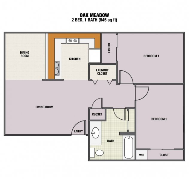 2 Bedrooms 1 Bathroom Apartment for rent at Oak Meadow Apartments in Eugene, OR