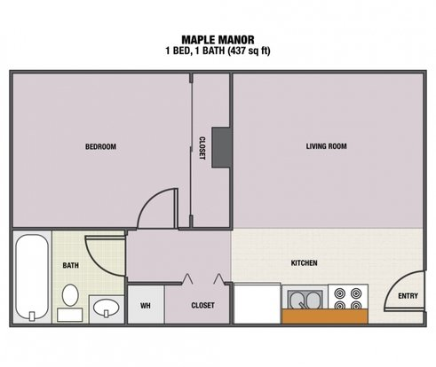 1 Bedroom 1 Bathroom Apartment for rent at Maple Manor Apartments in Eugene, OR