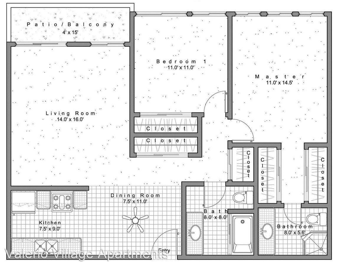 2 Bedrooms 1 Bathroom Apartment for rent at 14360 Valerio Street in Van Nuys, CA