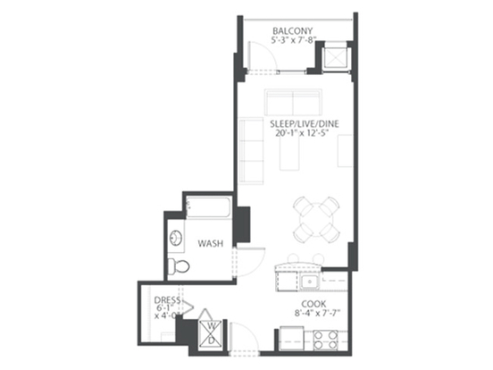 Studio 1 Bathroom Apartment for rent at 900 South Clark Street in Chicago, IL