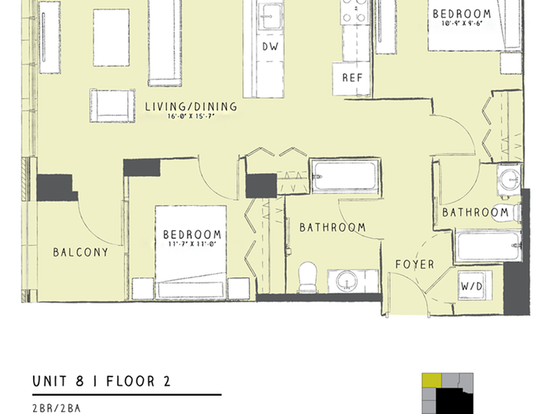 2 Bedrooms 2 Bathrooms Apartment for rent at 165 West Superior Street in Chicago, IL