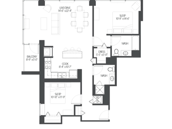 2 Bedrooms 2 Bathrooms Apartment for rent at Amli 900 in Chicago, IL
