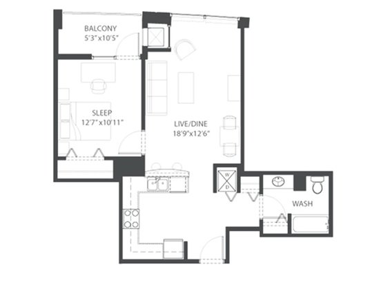 1 Bedroom 1 Bathroom Apartment for rent at Amli 900 in Chicago, IL