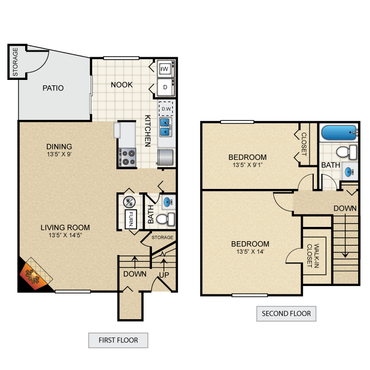 2 Bedrooms 2 Bathrooms Apartment for rent at Peppermill Village in West Lafayette, IN