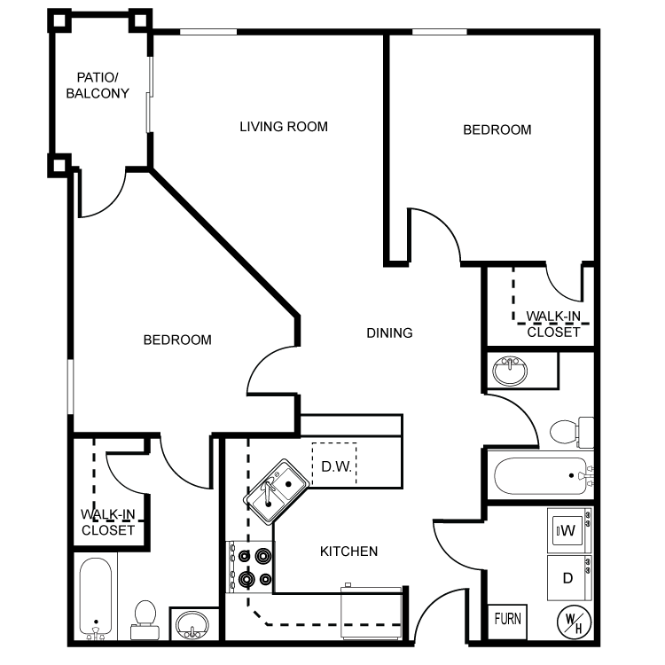 2 Bedrooms 2 Bathrooms Apartment for rent at River Walk Apartments in Lafayette, IN
