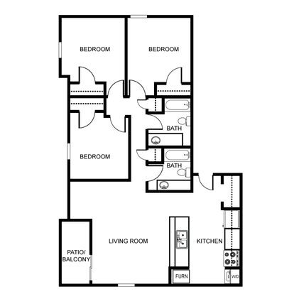 3 Bedrooms 2 Bathrooms Apartment for rent at River Walk Apartments in Lafayette, IN