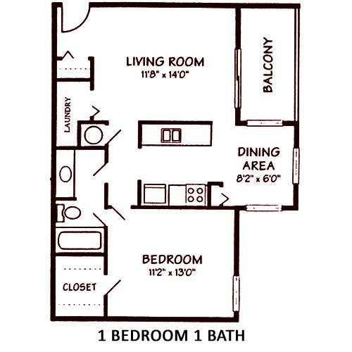 1 Bedroom 1 Bathroom Apartment for rent at Salem Courthouse Apartments in West Lafayette, IN