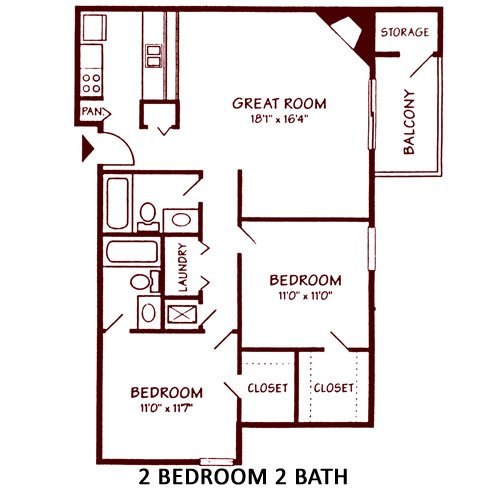 2 Bedrooms 2 Bathrooms Apartment for rent at Salem Courthouse Apartments in West Lafayette, IN