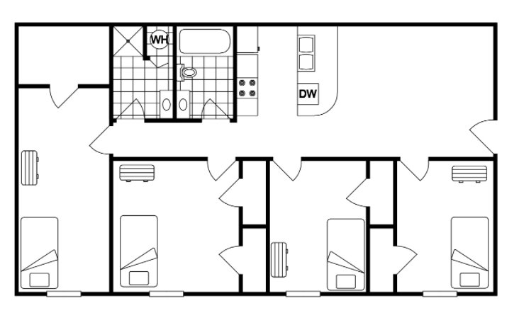 4 Bedrooms 2 Bathrooms Apartment for rent at Cedarwood in West Lafayette, IN
