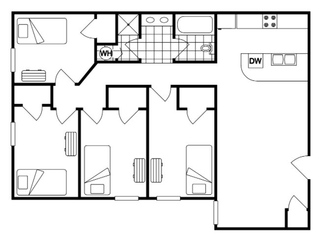 4 Bedrooms 2 Bathrooms Apartment for rent at Waldron in West Lafayette, IN