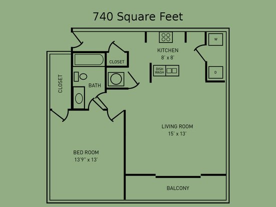 1 Bedroom 1 Bathroom Apartment for rent at The Fairway in West Lafayette, IN