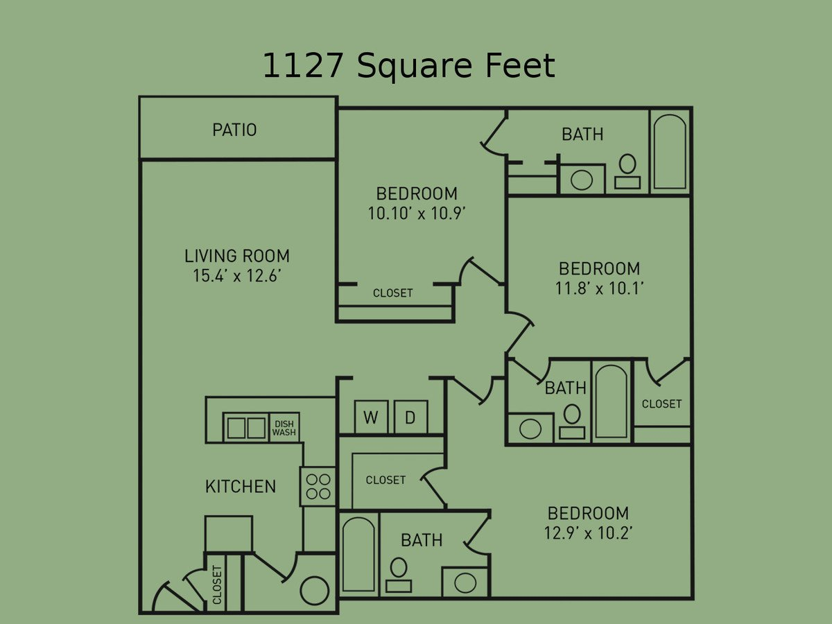 3 Bedrooms 3 Bathrooms Apartment for rent at The Fairway in West Lafayette, IN