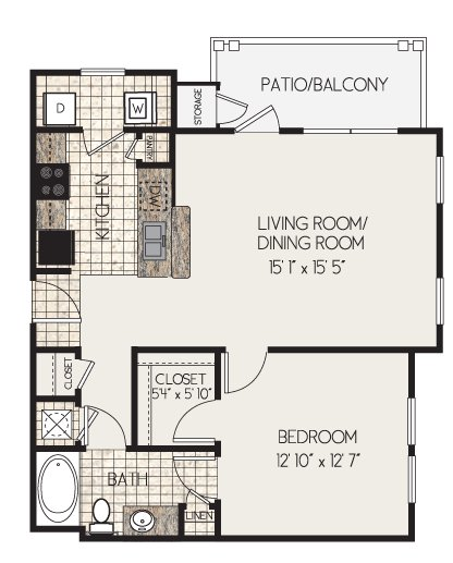 1 Bedroom 1 Bathroom Apartment for rent at Clairmont At Perry Creek in Raleigh, NC