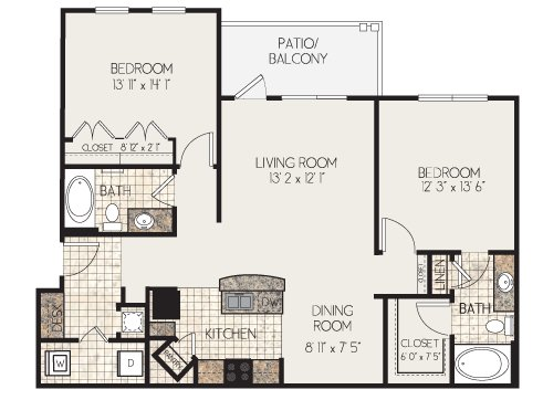 2 Bedrooms 2 Bathrooms Apartment for rent at Clairmont At Perry Creek in Raleigh, NC
