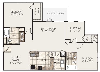 3 Bedrooms 2 Bathrooms Apartment for rent at Clairmont At Perry Creek in Raleigh, NC