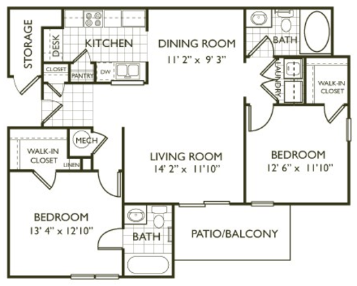 2 Bedrooms 2 Bathrooms Apartment for rent at Clairmont At Farmgate in Raleigh, NC