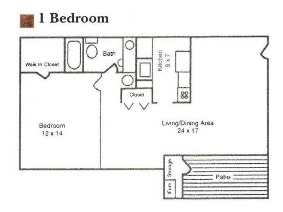 1 Bedroom 1 Bathroom Apartment for rent at Garden Quarter in Terre Haute, IN