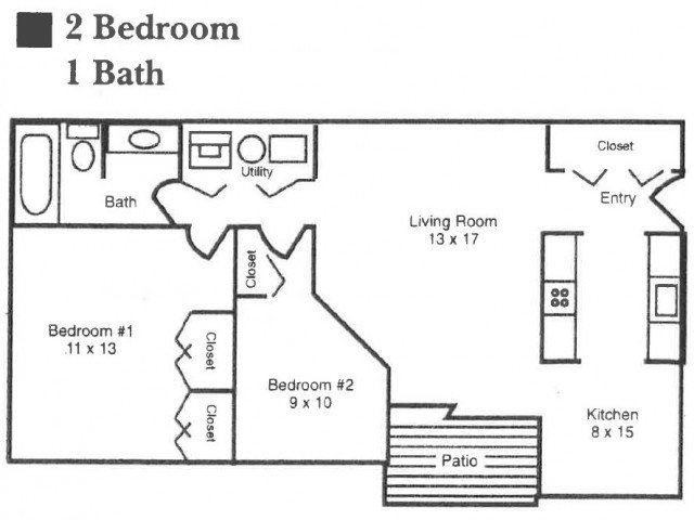 2 Bedrooms 1 Bathroom Apartment for rent at Garden Quarter in Terre Haute, IN