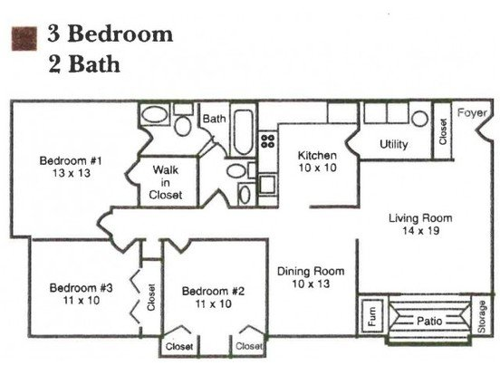 3 Bedrooms 2 Bathrooms Apartment for rent at Garden Quarter in Terre Haute, IN