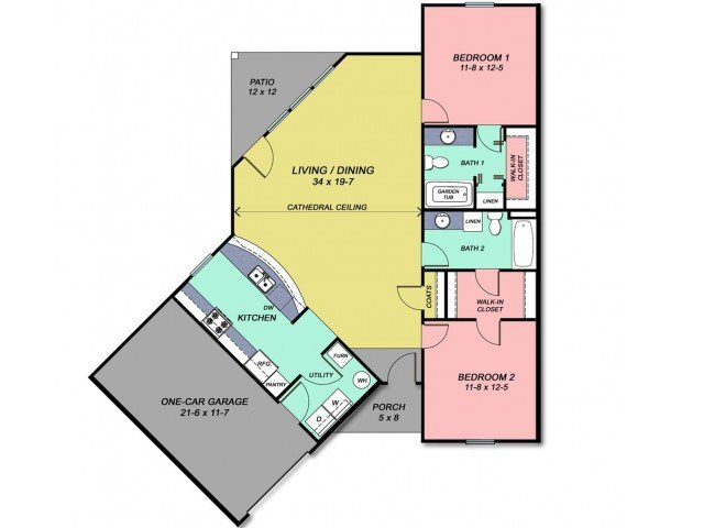 2 Bedrooms 2 Bathrooms Apartment for rent at Cobblestone Crossings in Terre Haute, IN