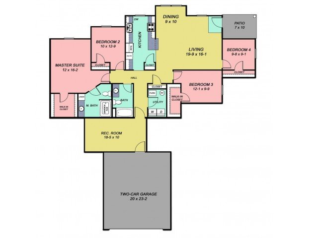 4 Bedrooms 2 Bathrooms Apartment for rent at Cobblestone Crossings in Terre Haute, IN
