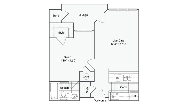 1 Bedroom 1 Bathroom Apartment for rent at The Ivy At Buckhead Luxury Apartment Homes in Atlanta, GA