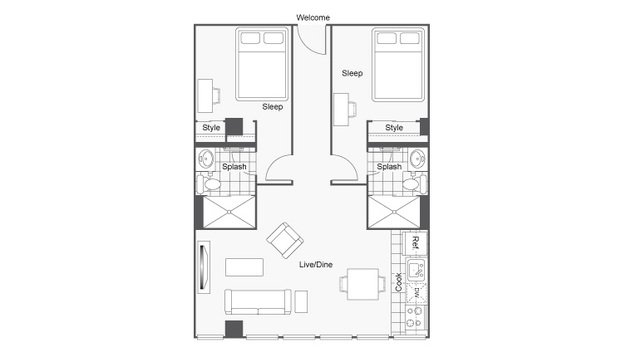 2 Bedrooms 2 Bathrooms Apartment for rent at Icon Student Spaces in St Louis, MO