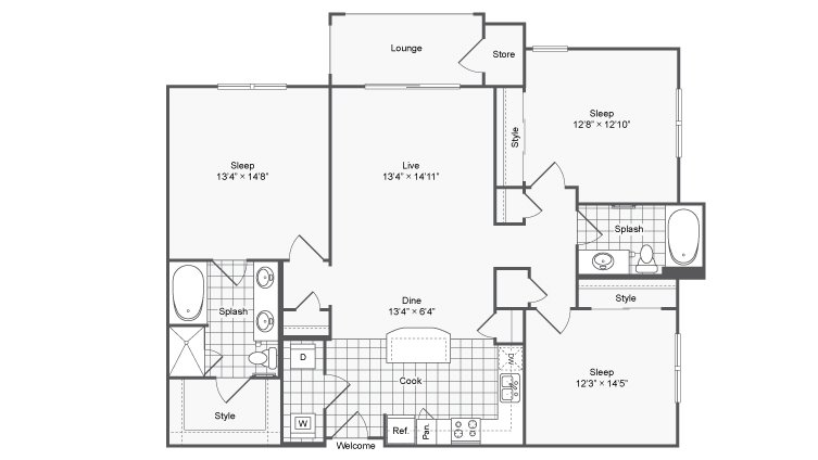 3 Bedrooms 2 Bathrooms Apartment for rent at Encore @ Clairmont in Atlanta, GA