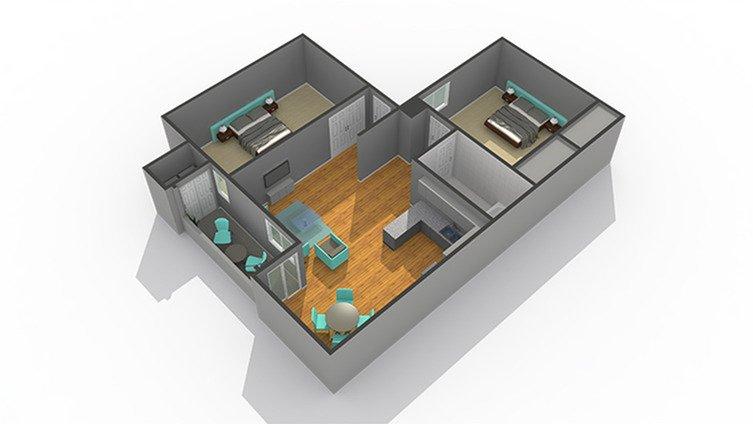 2 Bedrooms 1 Bathroom Apartment for rent at Zen Senior Living in Phoenix, AZ