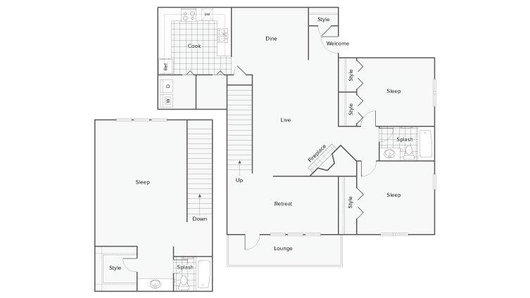3 Bedrooms 2 Bathrooms Apartment for rent at Renew Sandy Springs in Sandy Springs, GA