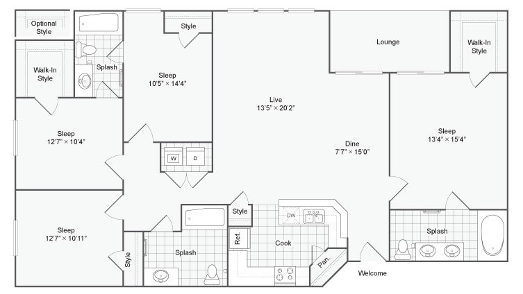 4 Bedrooms 3 Bathrooms Apartment for rent at Renew At Tpc in San Antonio, TX