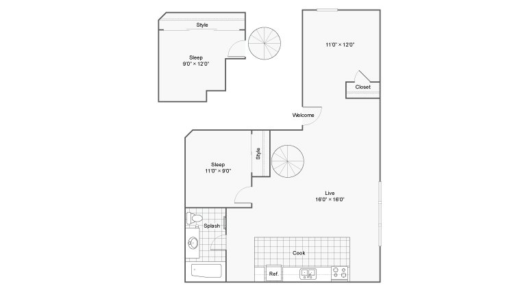 2 Bedrooms 1 Bathroom Apartment for rent at Renew On Stout in Denver, CO