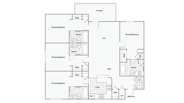 4 Bedrooms 4+ Bathrooms Apartment for rent at The Venetian Student Spaces in Tallahassee, FL