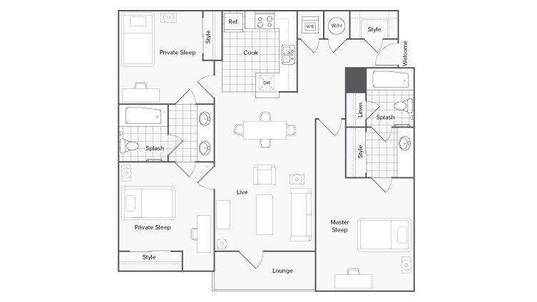 3 Bedrooms 2 Bathrooms Apartment for rent at The Social 1600 in Tallahassee, FL