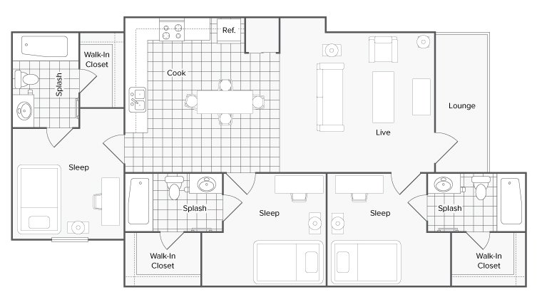 3 Bedrooms 3 Bathrooms Apartment for rent at The Social 1600 in Tallahassee, FL