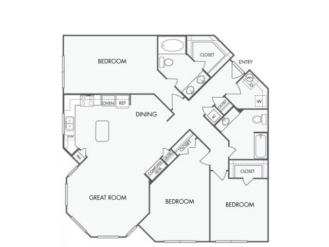 3 Bedrooms 2 Bathrooms Apartment for rent at Artisan Apartments in Austin, TX