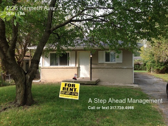 3 Bedrooms 1 Bathroom House for rent at 4126 Kenneth Ave in Indianapolis, IN