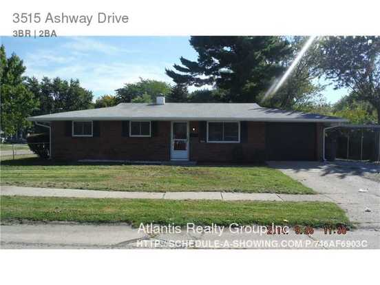 3 Bedrooms 2 Bathrooms House for rent at 3515 Ashway Drive in Indianapolis, IN