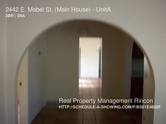 3 Bedrooms 2 Bathrooms House for rent at 2442 E. Mabel St. (main House) in Tucson, AZ