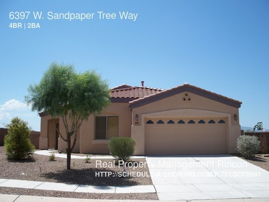 4 Bedrooms 2 Bathrooms House for rent at 6397 W. Sandpaper Tree Way in Tucson, AZ