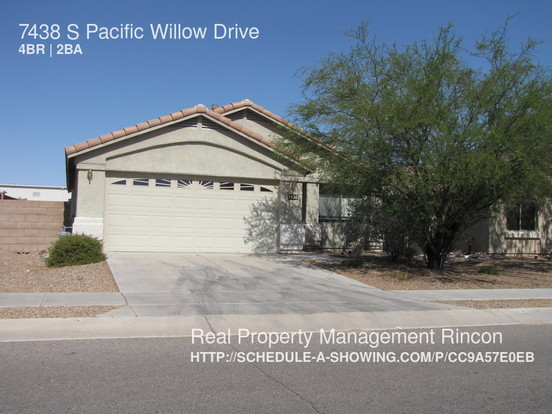 4 Bedrooms 2 Bathrooms House for rent at 7438 S Pacific Willow Drive in Tucson, AZ