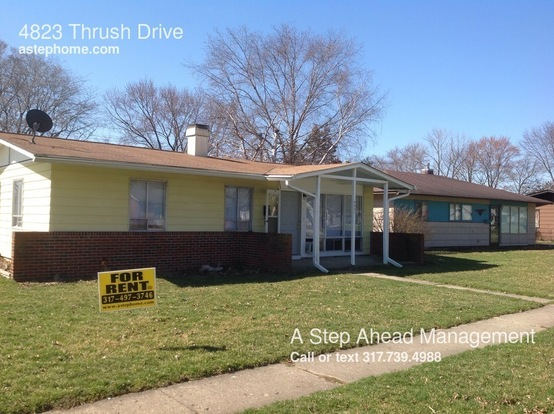 3 Bedrooms 1 Bathroom House for rent at 4823 Thrush Drive in Indianapolis, IN
