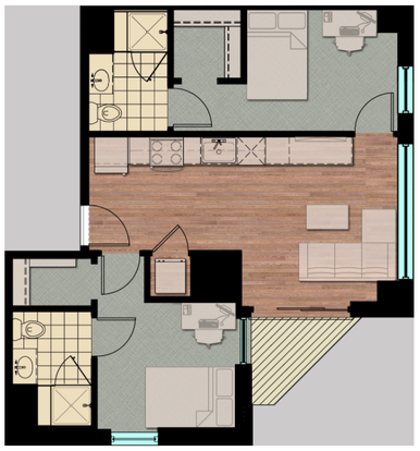2 Bedrooms 2 Bathrooms Apartment for rent at Hub Madison in Madison, WI