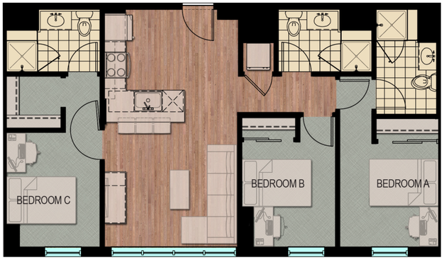 Lovely 3 Bedrooms 3 Bathrooms Apartment For Rent At Hub Madison In Madison WI. Hub  Madison