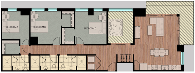 3 Bedrooms 3 Bathrooms Apartment for rent at Hub Madison in Madison, WI