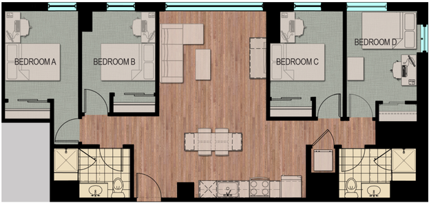 4 Bedrooms 2 Bathrooms Apartment for rent at Hub Madison in Madison, WI